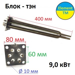 Block-heating element on a square flange 80 x 80 mm for electric boiler ROSS 9.0 kW