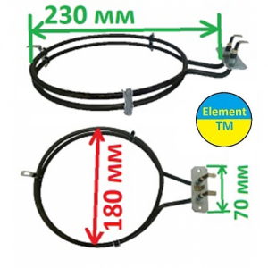 heating element for convection of air into the oven with a total capacity of 2200 watts at 220 V