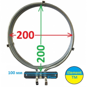 heating element for convection of air into the oven with a total capacity of 2500 watts at 220 V