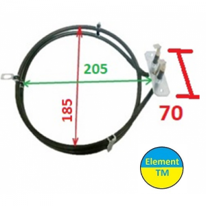 heating element for convection of air into the oven with a total capacity of 2000 watts at 220 V